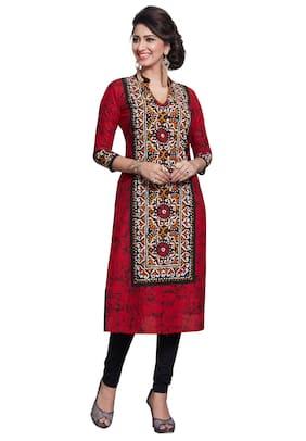 ac56fa8903 Salwar Studio Women's Red & Black Pure Cotton Printed Straight Fit  Readymade Kurta/Kurti