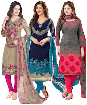 Salwar Studio Women's Pack of 3 Synthetic Unstitched Dress Material Combo-MO-1773-RI-9088-MO-2169