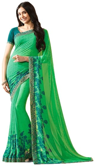 Samarth Fab Green Color Bollywood Style Ethnic Wear Party Wear Georgette Printed Free Size Designer Saree With Blouse