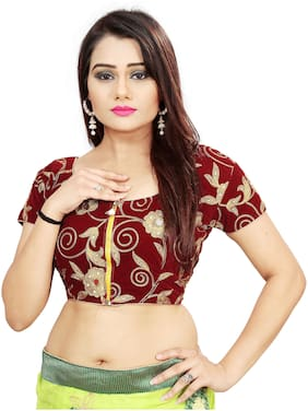 Samarth Fab Velvet Unstiched Embroidered Blouse Red