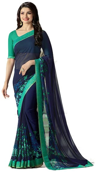 Samarth Fab Blue Color Bollywood Style Ethnic Wear Party Wear Georgette Printed Free Size Designer Saree With Blouse