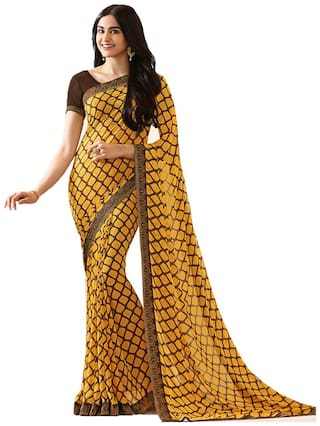 Samarth Fab Yellow Color Bollywood Style Ethnic Wear Party Wear Georgette Printed Free Size Designer Saree With Blouse