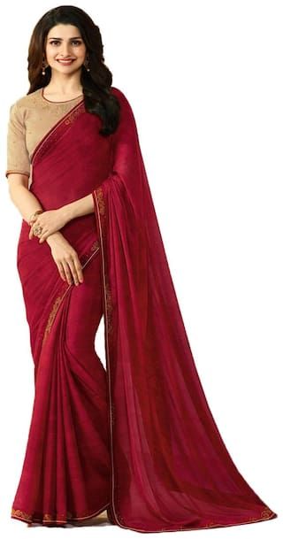 Samarth Fab Maroon Color Bollywood Style Ethnic Wear Party Wear Silk Printed Free Size Designer Saree With Blouse