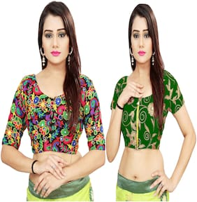 Samarth Fab Georgette Unstiched Embroidered Blouse Multi