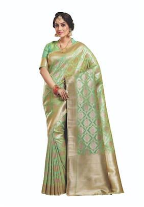 Sangam Prints Women Silk Sarees Green