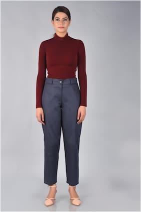 Sanviya Women Navy Blue Cotton Solid Office Wear Trouser Pants