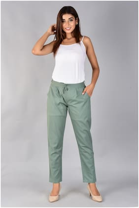 SANVIYA Womens Solid Cotton Regular Fit Mid Rise Ankle Length Pleated Casual Knot trouser