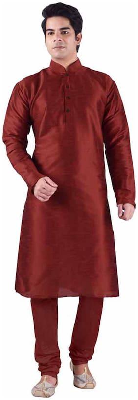 Sanwara Maroon Silk Blend Kurta Pyjama