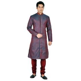 Sanwara Men Regular fit Silk Full sleeves Kurta Pyjama - Maroon