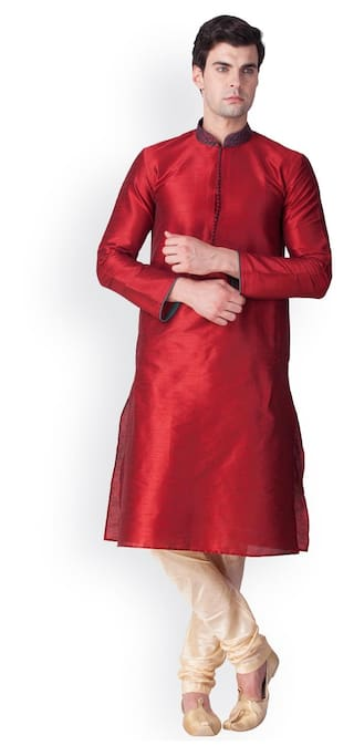Sanwara Men Regular Fit Dupion Full Sleeves Solid Kurta Pyjama - Red