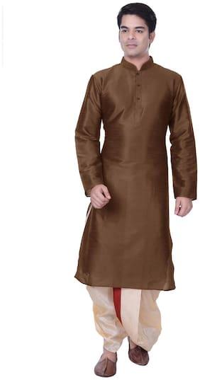 Sanwara Men Regular fit Rayon Full sleeves Kurta Pyjama - Brown