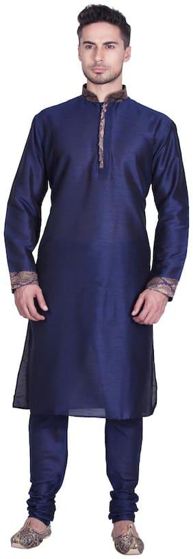 Sanwara Men Regular fit Dupion Full sleeves Solid Kurta Pyjama - Blue