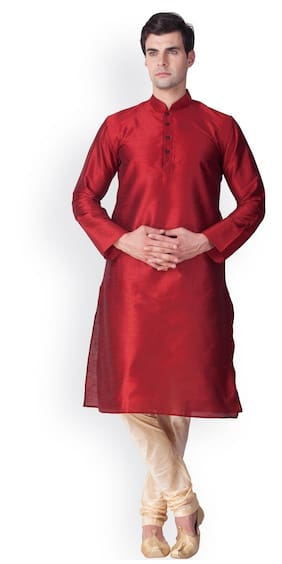 Sanwara Men Regular Fit Dupion Full Sleeves Solid Kurta Pyjama - Red