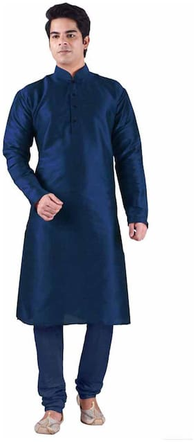Sanwara Men Regular fit Rayon Full sleeves Solid Kurta Pyjama - Blue