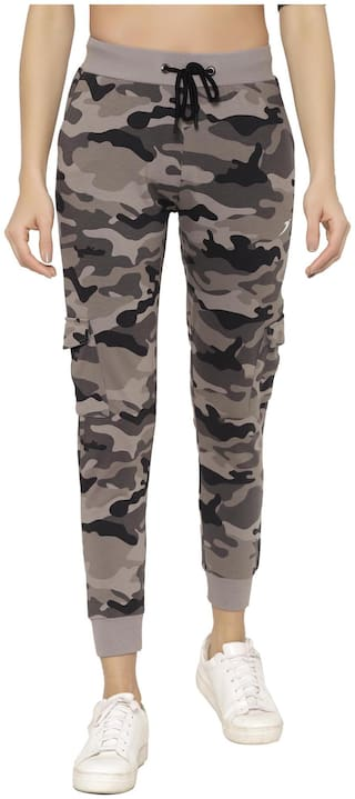 Sapper Cotton Grey Camouflage Joggers  For Women