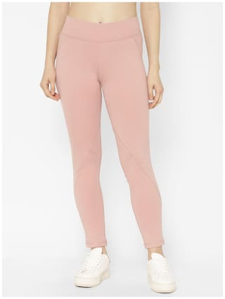 Sapper Women Slim fit Cotton Solid Track pants - Pink