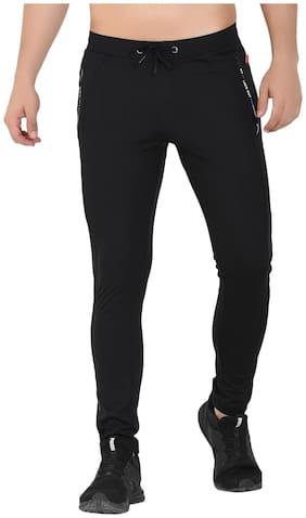 Sapper Men Polyester Slim Fit Track Pants Black color