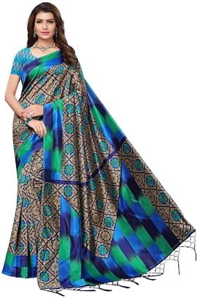 Saree Mall Blue Casual Art Silk Printed Saree With Unstitched Blouse