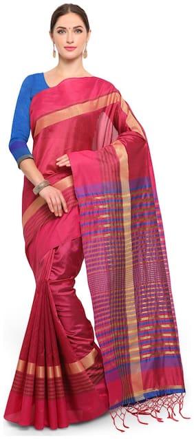 Saree Mall Silk Maheshwari Zari work Saree - Pink , With blouse