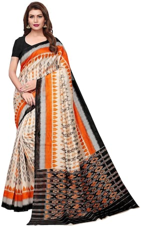 Saree Mall Blended Bhagalpuri Tie & dye work Saree - Cream , With blouse