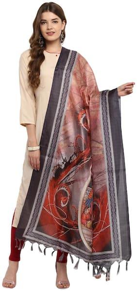 Saree Mall Dupatta For Women Multicolor Khadi Silk Digital Print Only Dupatta & Stoles for Women's