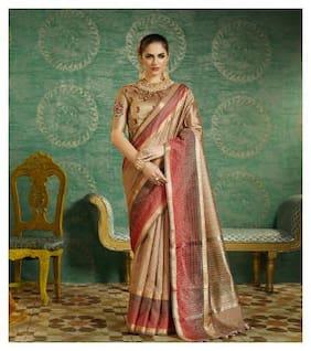 Saree Mall Silk Banarasi Tie & dye work Saree - Yellow , With blouse