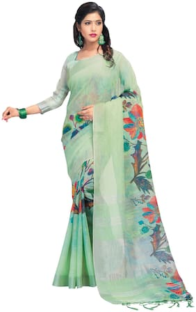 Saree Mall Light Green Party Wear Pure Linen Digital Print Saree With Unstitched Blouse