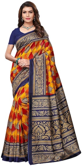 Saree Mall Multicolor Casual Art Silk Printed Saree With Unstitched Blouse