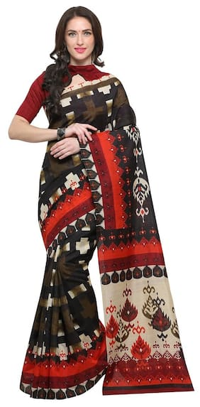 Saree mall Multi-Coloured Casual Bhagalpuri Silk ABSTRACT Saree With Unstitched Blouse