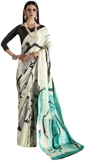 Saree Mall Off White & Sea Green Party Wear Crepe Printed Saree With Unstitched Blouse