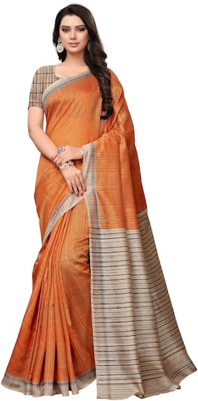 Saree Mall Orange Casual Art Silk Printed Saree With Unstitched Blouse