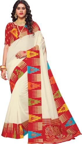 Saree Mall Silk Festive Garad Designer Saree Cream