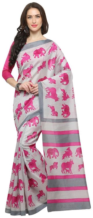 Saree mall white Casual Bhagalpuri Silk ANIMAL PRINT Saree With Unstitched Blouse