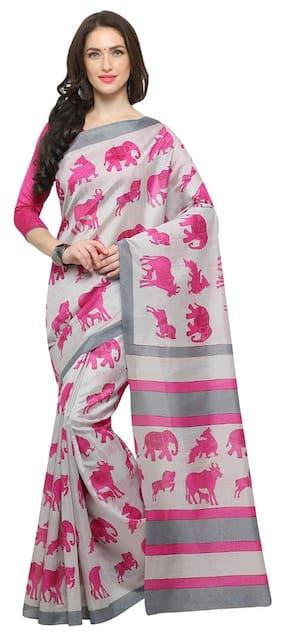 Saree mall white Casual Bhagalpuri Silk ANIMAL PRINT Saree With Unstitched Blouse