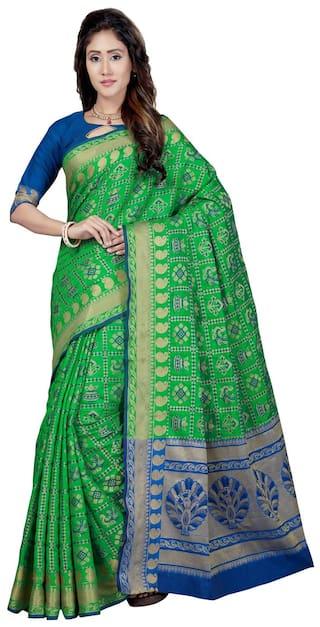 fb30735725c7a Buy Saree Swarg Green Silk Blend Banarasi Saree with Blouse Online ...