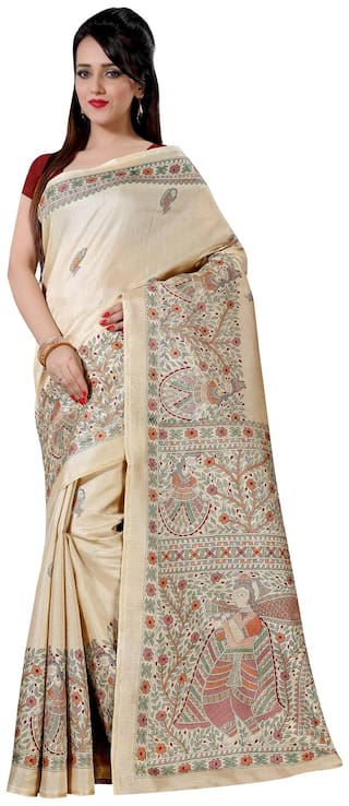 993b313ad0f ... Buy Sareemall Beige Khadi Silk Saree with Unstitched Blouse Online