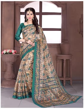 Sareemall Silk Universal Embroidered work Saree - Brown , With blouse