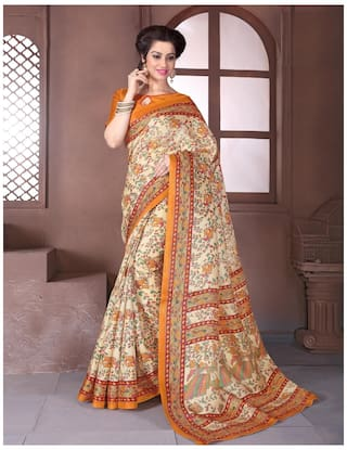 Sareemall Silk Madhubani Tie & Dye Work Saree - Beige