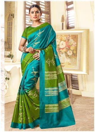 Sareemall Blue & Green Casual Bhagalpuri Silk animal Print Saree With Unstitched Blouse