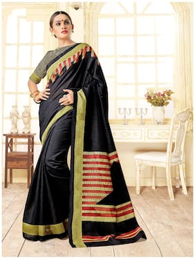 Sareemall Black Casual Bhagalpuri Silk Strips Saree With Unstitched Blouse