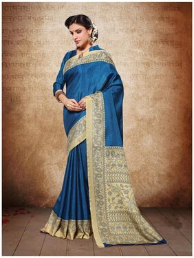 Sareemall Blue Manipuri Silk Printed Saree With Unsitiched Blouse