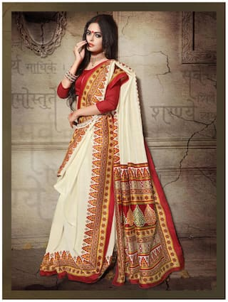 Sareemall Cream Bhagalpuri Silk Printed Saree with Unstitched Blouse