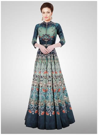 ed68d92fb498 Buy Sareemall Designer New Turquoise Long Printed Semi Stitched Gown ...