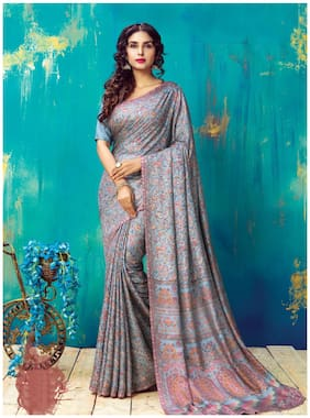 Saree Mall Silk Universal Embroidered work Saree - Grey , With blouse