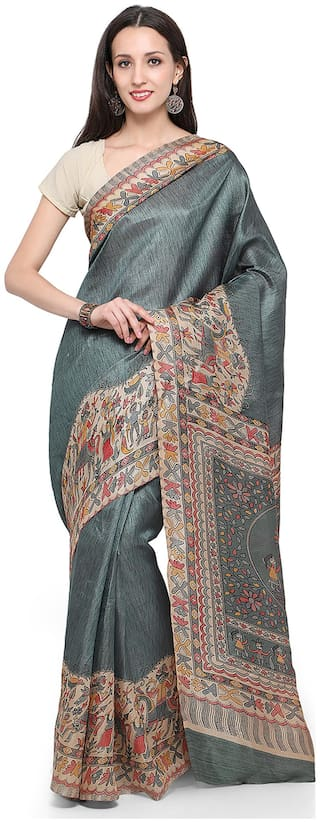 Sareemall Grey Casual Khadi Silk Madhubani Printed Saree With Unstitched Blouse