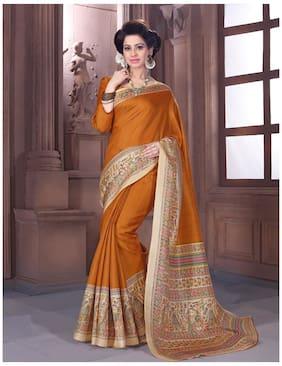 Sareemall Silk Madhubani Block print work Saree - Mustard , With blouse