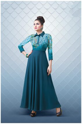 Sareemall Georgette Regular Solid Gown - Blue