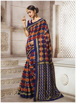 Sareemall Navy Blue Casual Bhagalpuri Silk Block print Saree With Unstitched Blouse