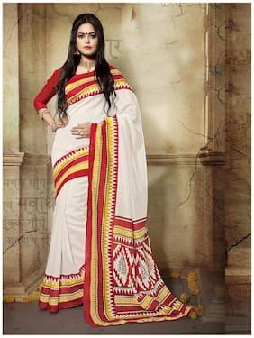 Sareemall Off white Bhagalpuri Silk Printed Saree with Unstitched Blouse
