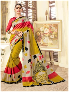 Sareemall Peach & Mustard Casual Bhagalpuri Silk Floral Saree With Unstitched Blouse